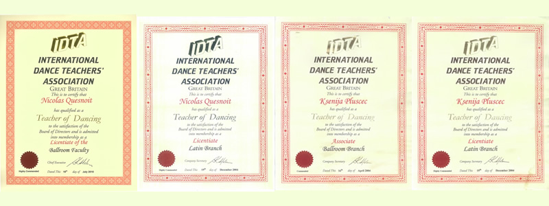 The prestigious dance diploma Nicolas and Ksenija for Social and Latino dances